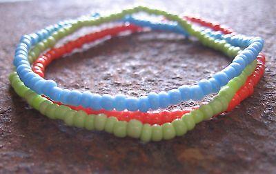 Surferarmband Armband Gummiarmband orange blau grün Damenarmband Surferschmuck