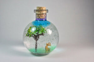 Fairy Tale Miniature Glass Bottle Decoration Glass Terrarium With