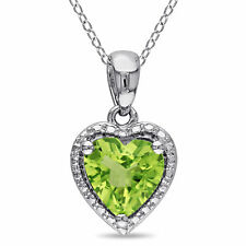 Amour Sterling Silver Peridot Heart Necklace