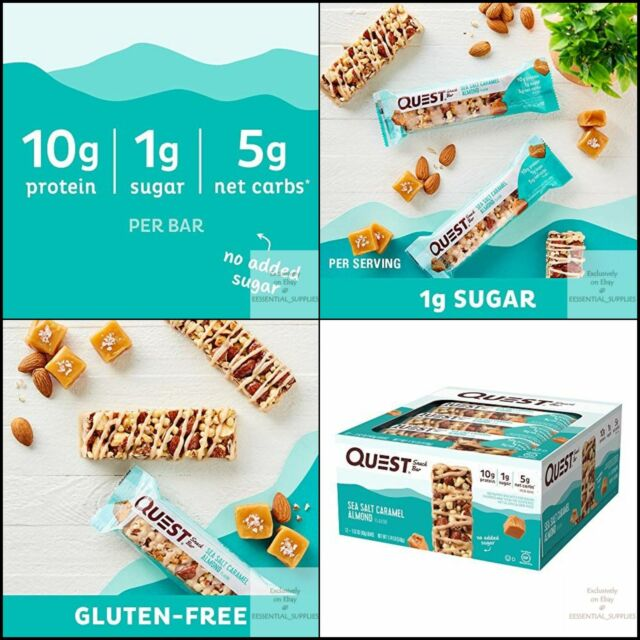 Quest Nutrition Sea Salt Caramel Low Carb,Gluten Almond Snack Bar, High Protein,