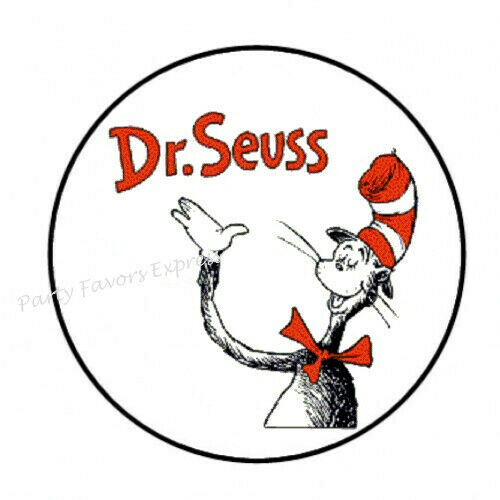 """30 DR SEUSS CAT IN THE HAT ENVELOPE SEALS LABELS STICKERS FAVORS 1.5/"""" ROUND"""