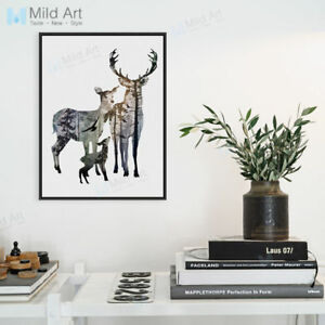 Vintage-Deer-Family-A4-Poster-Print-Modern-Home-Decor-Animal-Art-Canvas-Painting