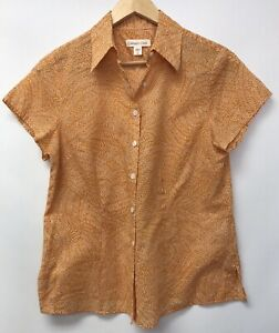 Coldwater-Creek-Womens-Size-Small-6-8-Top-Orange-White