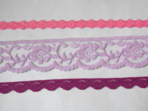 33 ct.//m 3 Meter Vintage Spitzenband Spitzenborte Spitzenbordüre rosa lila