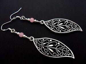 Un PAR DE PLATA TIBETANA largo Hoja temática Rosa de Cristal Colgantes Pendientes nuevo.