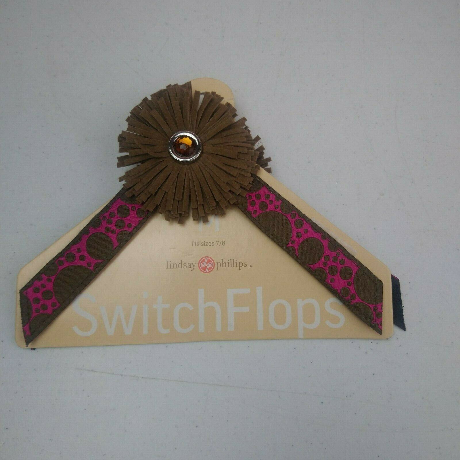 Lindsay Phillips Interchangeable Straps Switch Flops Size M 7- 8 Brown Fringe