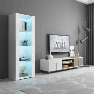 Details About 160cm Display Cabinet Lighting Shelving Unit Shelves White Gloss Modern Led