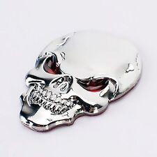 Auto Aufkleber Car Sticker in 3D Optik Scull Silver aus Metal Death Head Biker