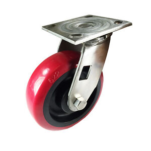"6"" x 2"" Heavy Duty Stainless Steel ""Polyurethane Wheel"" Caster - Swivel"