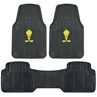 Tweety Bird Car Floor Mats - Rubber Extra Cushion 3 Pcs Front Rear Full Set