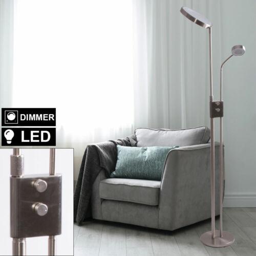 LED Decken Fluter Steh Lampe silber Wohn Schlaf Zimmer Stand Leuchte Lesearm