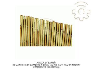 Arella arelle frangivista 300 x 500cm in cannette di bamboo 4-5 mm legate con