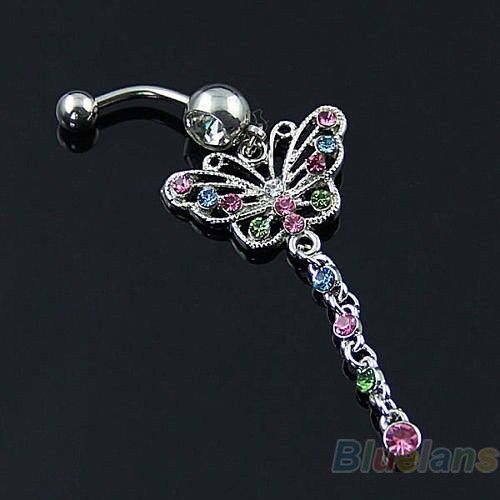 Butterfly Dangle Surgical Steel Barbell Body Piercing Navel Ring Belly Bar