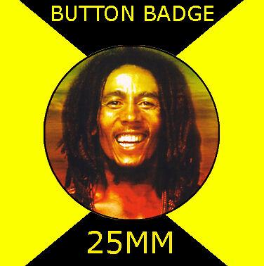 "Button Badge 25mm 1/"" CD#23423 Bob Marley Image"