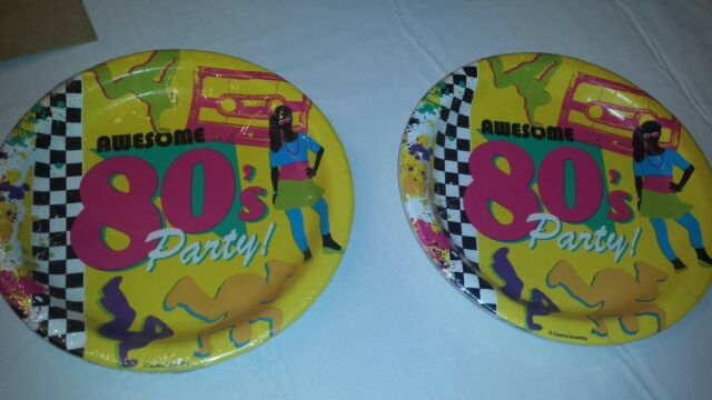 "80's PARTY Set of 16 Dinner Plates 8.875"" USA made Awesome 80's party plates"