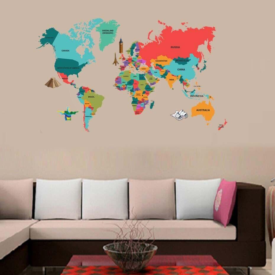 World Map Wall Sticker Vinyl Wall Art Decal