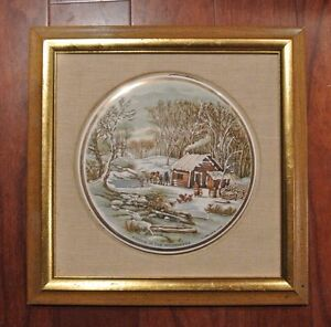 Genuine-Porcelain-Hand-Enameled-A-Home-In-The-Wilderness-Decorative-Plate-Art