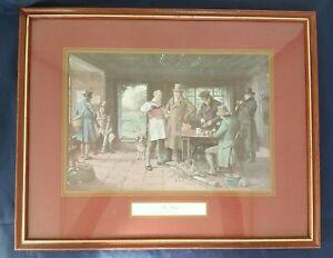 Vtg-English-Art-034-The-Start-034-Print-Framed-Hunting-Bar-Scene-H-11-75-034-x-L-14-75-034