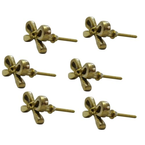 Set Of 6 Tie Bow Brass Metal Antique Knob For Vintage Pull By Perilla Home