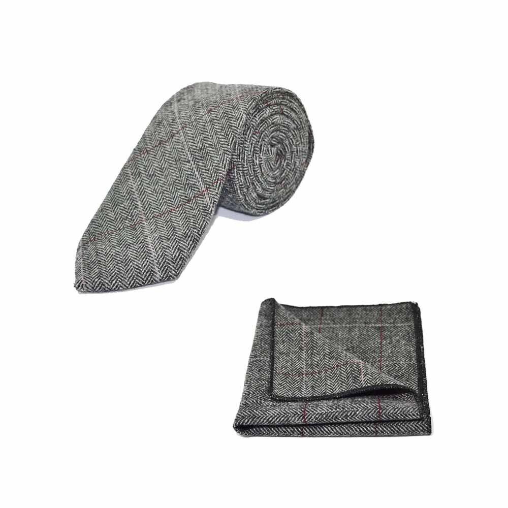 Luxus Fischgrätenmuster Zinn Grau Krawatte & Einstecktuch Satz - Tweed,Plaid
