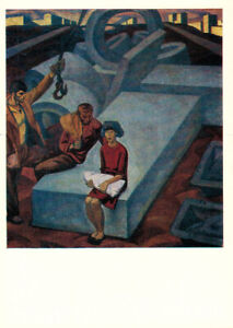 1971-Russian-SOCIALIST-REALISM-p-card-MEN-WOMAN-BABY-CONSTRUCTION-SITE-Ossovsky