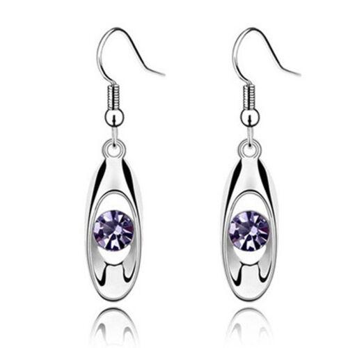 Women Girl Hollowed Crystal Long Dangle Hook Earrings Fashion Jewelry LH