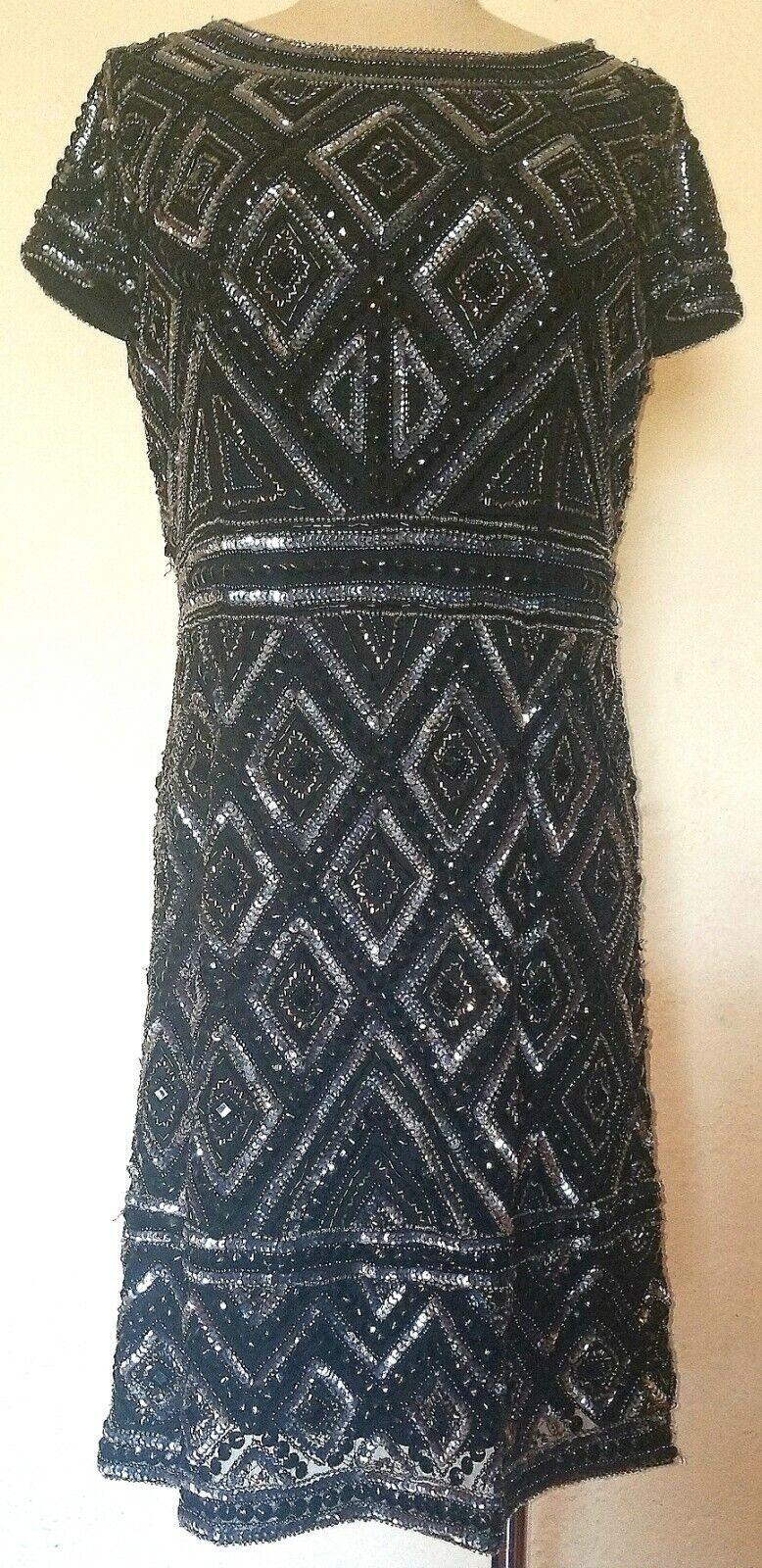 Vintage Adrianna Papell schwarz Sequin Short Sleeve Dress Größe M