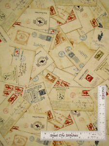 Pony-Express-Wild-West-Postcards-Letters-Cotton-Fabric-Northcott-By-The-Yard