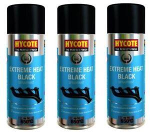 3x-Hycote-XUK1001-Extreme-Heat-Spray-Paint-400ml-Exhaust-Black-VHT-Up-To-650C