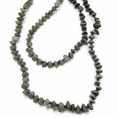 Motiviert Neu 100cm Halskette Perlen Grau/schlamm Holz Endloskette Perlenkette Naturperlen