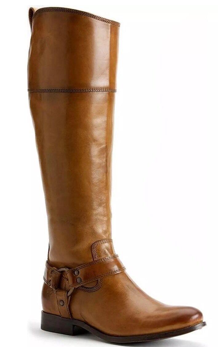 Frye Size 6 Melissa Harness Inside Zipper in Rossowood NOB  Tall Boots Camel  438