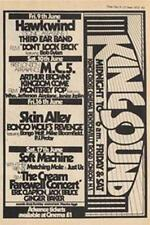 Hawkwind MC5 Arthur Brown Soft Machine Skin Alley show ad Time Out cutting 1972