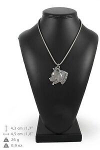 Amstaff-type-2-silver-plated-pendant-on-the-silver-chain-Art-Dog-IE