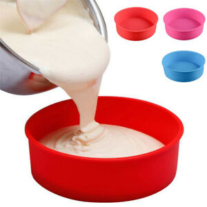 6-8-9-034-Silicone-Round-Bread-Cake-Pan-Bakeware-Mold-Baking-Tray-Mould-Kitchen-AU