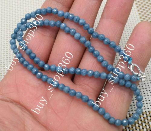 """4 mm Naturel Aquamarine Faceted Blotter Perles Colliers 18/"""" 925 Fermoir Argent"""