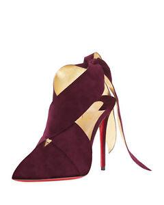 c70ef137c958 NIB Christian Louboutin Ramour 100 Purple Merlot Suede Gold Tie Heel ...