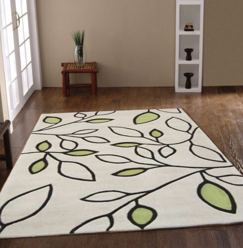 LUXURY ACRYLIC RUGS IN LEAF DESIGN GREEN WHITE CREAM MODERN CLEARANCE FLOOR MAT