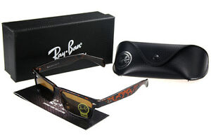Image is loading Ray-Ban-Clubmaster-Sunglasses-Crimson-Leopard-Frame-Brown-