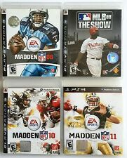 GREAT SPORTS LOT OF 4 PS3 PLAYSTATION 3 GAMES ~ MADDEN 8-10-11 & MLB THE SHOW