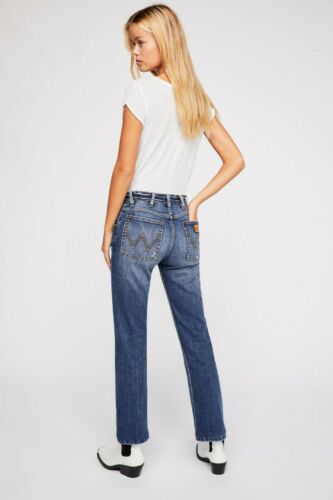 RRP $118 Dark Denim Blue New Free People Wrangler Boyfriend Jeans