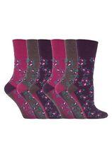 6 Prs Ladies Sockshop Cotton Gentle Grip Socks 4-8uk 37-42 Rose Floral Pink RH58