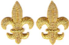 FLEUR DE LIS-GOLD METALLIC (2) (SMALL) - Iron On Embroidered Applique/Mardi Gras