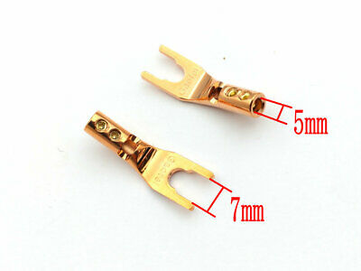 4Pcs Red Copper Speaker Cable Spade Connector Terminal Plug connector