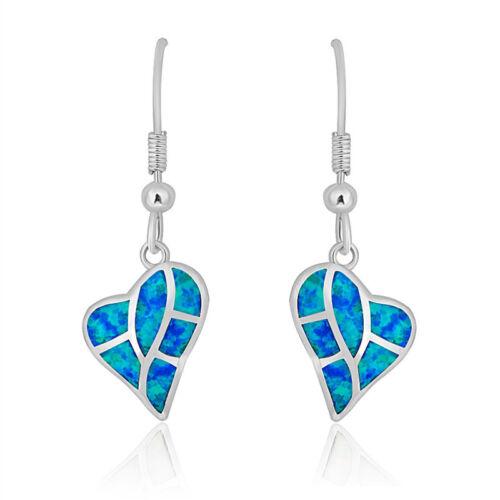 Mignon Cœur Forme bleu imitation opale Silver Drop Dangle Femmes Boucle D/'oreille Bijoux