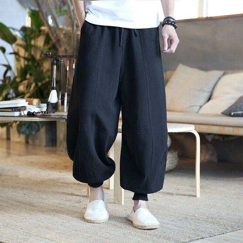 2019 Summer Bloomers Wide Leg Loose Linen Cotton Leisure Retro Pant Size M-5XL