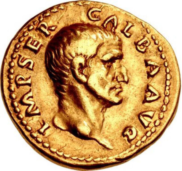 GALBA 69AD Authentic Ancient Roman Gold Aureus Ex Mazzini Collection VERY RARE