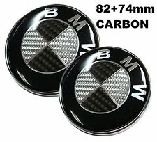 82+74mm passt zu BMW Carbon Schwarz weiss Emblem Vorne Motorhaube e60 e39 1 3 5