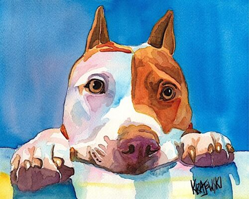 Pit Bull Dog 11x14 signed art PRINT RJK painting