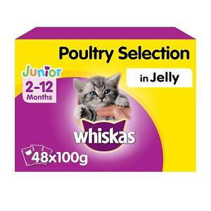 48 x 100g Whiskas 2-12 Months Kitten Wet Cat Food Pouches Mixed Poultry in Jelly