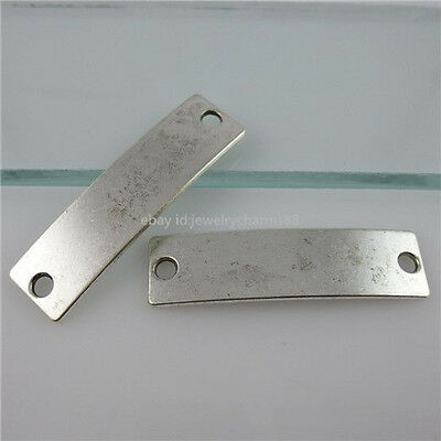11621 15PCS Alloy Blank Connector Without Word Vintage Silver Tone